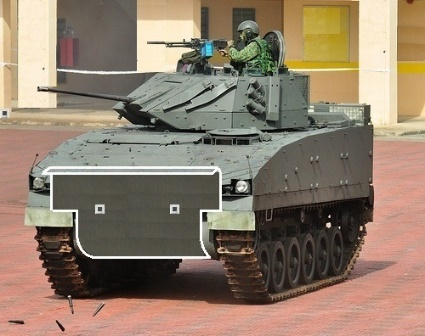 Local IFV chassis with internal cube steel structure holder inserted & welded onto bottom base plate of the chassis